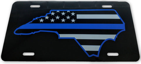 North Carolina State US Flag Blue Line License Plate - FrontLine Designs, LLC