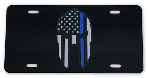 Spartan US Flag Blue Line License Plate - FrontLine Designs, LLC
