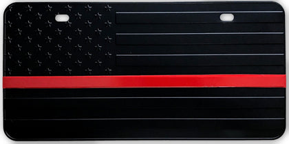 US Flag Subdued Red Line License Plate - FrontLine Designs, LLC