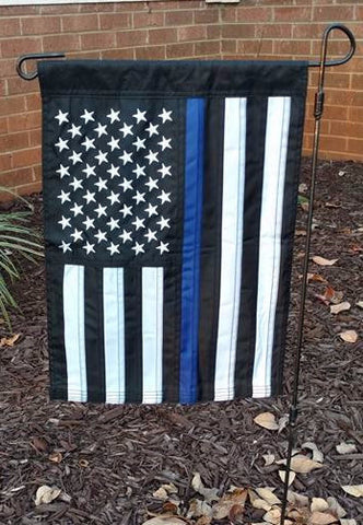 US Blue Line Nylon Garden Flag