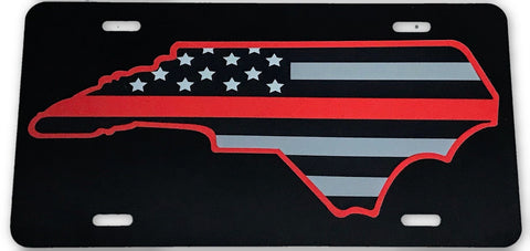 North Carolina State US Flag Red Line License Plate - FrontLine Designs, LLC