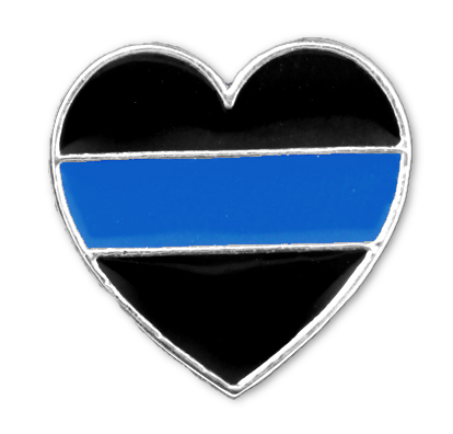 Blue Line Heart Shaped Lapel Pin