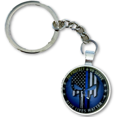 US Blue Line Circle Defender Key Chain - FrontLine Designs, LLC