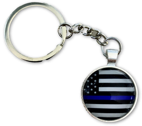 US Blue Line Circle Key Chain - FrontLine Designs, LLC