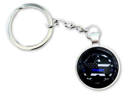 US Blue Line Circle Sheriffs Badge Keychain - FrontLine Designs, LLC