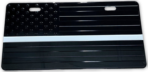 US Flag Subdued White Line License Plate - FrontLine Designs, LLC
