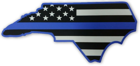 North Carolina State US Flag Blue Line Decal - FrontLine Designs, LLC