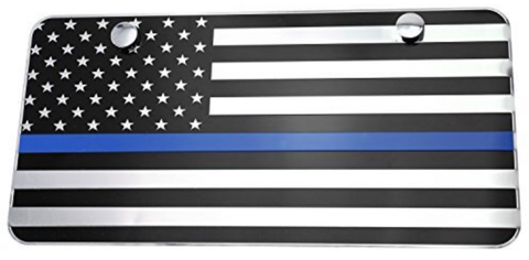 US Flag Blue Line License Plate - FrontLine Designs, LLC