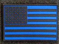 Blue Line US Flag 2 dimensional PVC Subdued Patch - FrontLine Designs, LLC