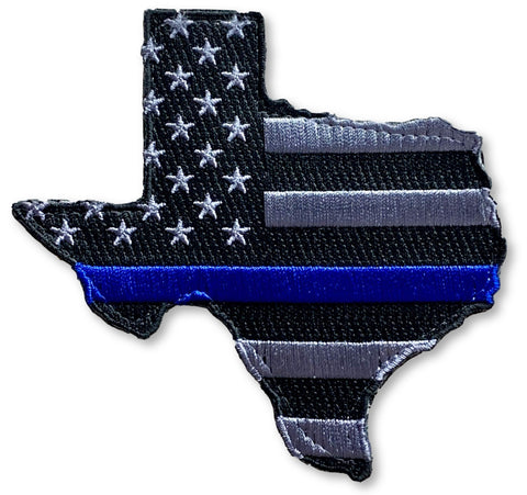 US Flag Texas State Blue Line Patch