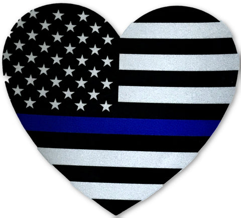 US Blue Line Flag Heart Reflective Decal - FrontLine Designs, LLC