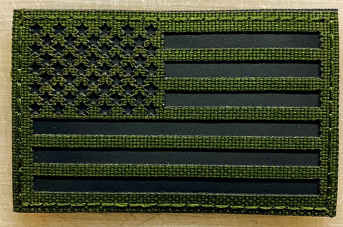 US Flag Patch OD Green Reflective