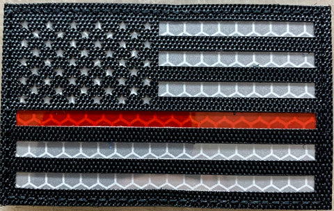 US Flag Red Line Reflective Patch