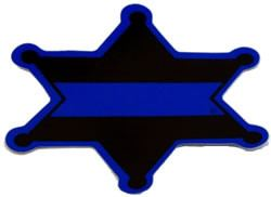Decal - 6-Point Blue Line Sheriff's Badge Decal