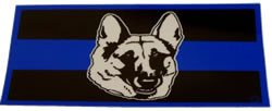 Blue Line Grey K-9 Head Decal - FrontLine Designs, LLC