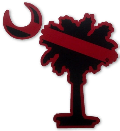 Red Line Palmetto Tree Decal BOGO - FrontLine Designs, LLC
