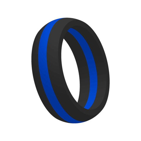 Blue Line Silicone Ring Large