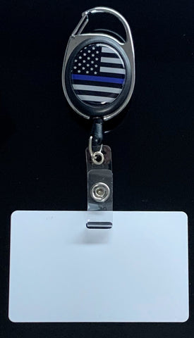 US Blue Line Retractable Lanyard