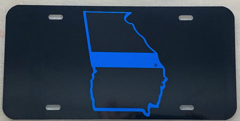 Georgia State Blue Line License Plate