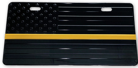 US Flag Subdued Gold Line License Plate