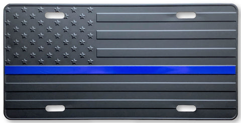 US Flag Subdued Blue Line License Plate