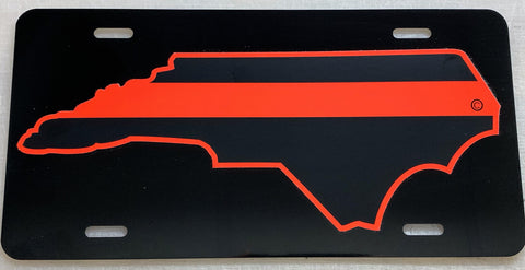 North Carolina State Red Line License Plate - FrontLine Designs, LLC