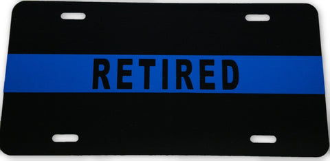 "Blue Line ""Retired"" License Plate - FrontLine Designs, LLC"