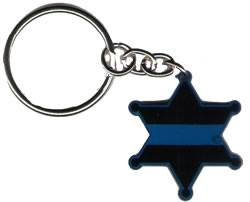 6-Point Sheriff's Badge Blue Line Keychain - FrontLine Designs, LLC