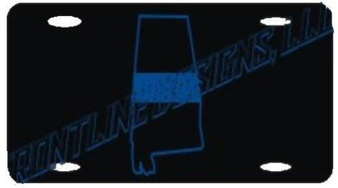 Alabama State Blue Line License Plate - FrontLine Designs, LLC