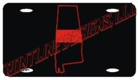 Alabama State Red Line License Plate - FrontLine Designs, LLC
