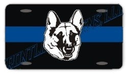 Blue Line Reflective Grey Dog Head License Plate - FrontLine Designs, LLC
