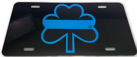 Blue Line Reflective Shamrock License Plate - FrontLine Designs, LLC