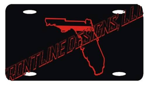 Florida State Red Line License Plate - FrontLine Designs, LLC