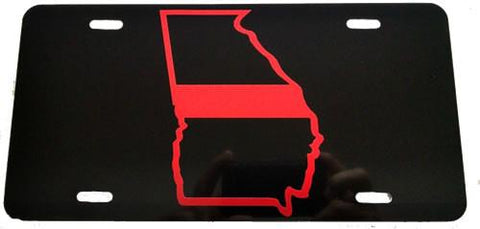 Georgia State Red Line License Plate - FrontLine Designs, LLC