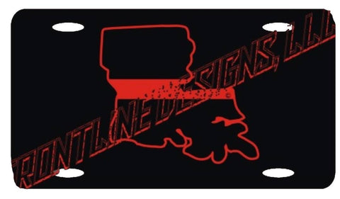 Louisiana State Red Line License Plate - FrontLine Designs, LLC