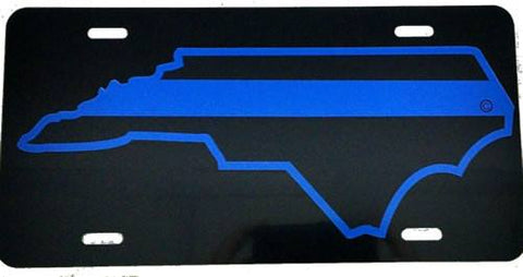 North Carolina State Blue Line License Plate - FrontLine Designs, LLC