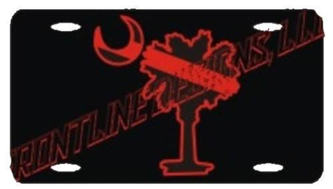 Palmetto Tree Red Line License Plate - FrontLine Designs, LLC