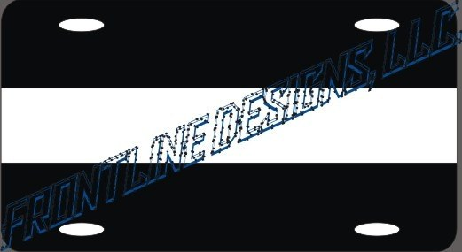 White Line Reflective License Plate - FrontLine Designs, LLC