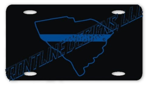 South Carolina State Blue Line License Plate - FrontLine Designs, LLC