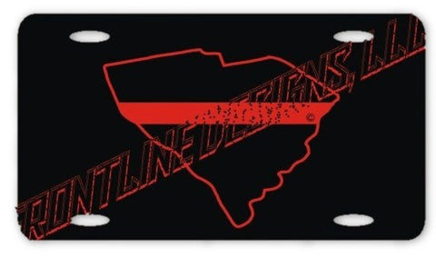 South Carolina State Red Line License Plate - FrontLine Designs, LLC