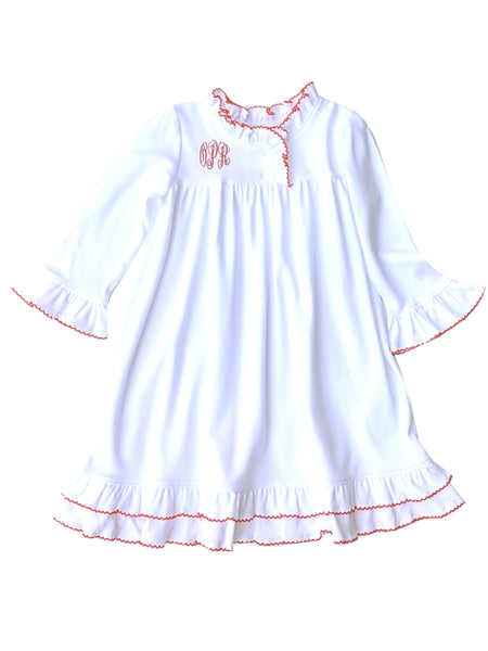 Girls White Cotton Nightgown