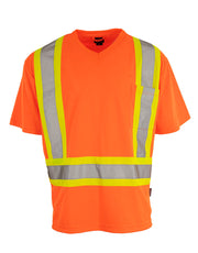 Hi Vis V-Neck Short Sleeve Safety Tee Shirt