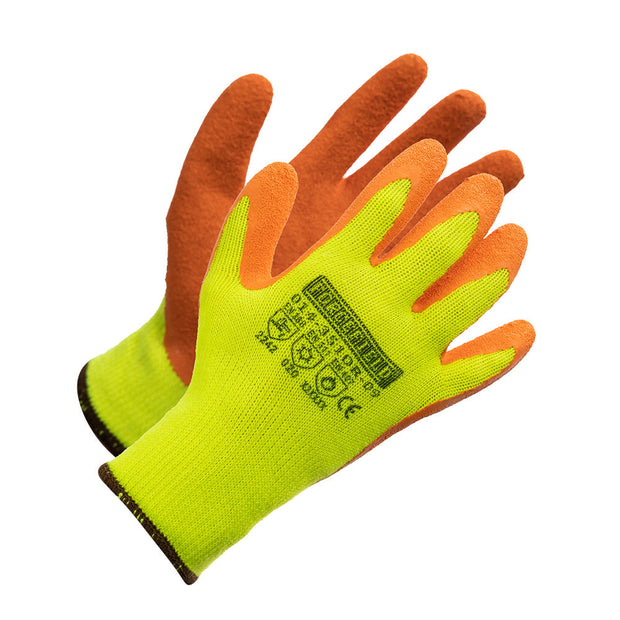Hi Vis Light Insulated String Knit Work Gloves, Palm Coated with Orange Crinkle Latex