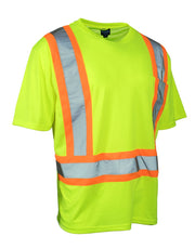 Hi Vis Crew Neck Short Sleeve Safety Tee Shirt with Chest Pocket