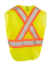 5-Point Tear-away Hi Vis Mesh Traffic Safety Vest, 3 Sizes