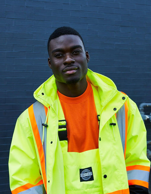 Hi Vis Safety Rain Jacket with Snap-Off Hood