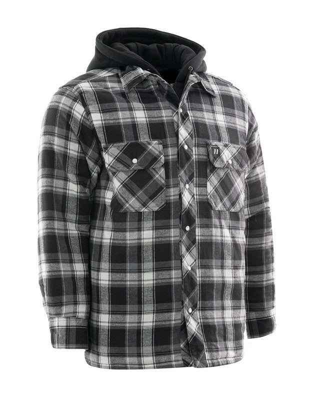 Grey Plaid Hooded Quilted Flannel Shirt Jacket