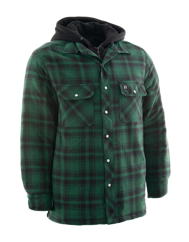 Green Plaid Hooded Quilted Flannel Shirt Jacket