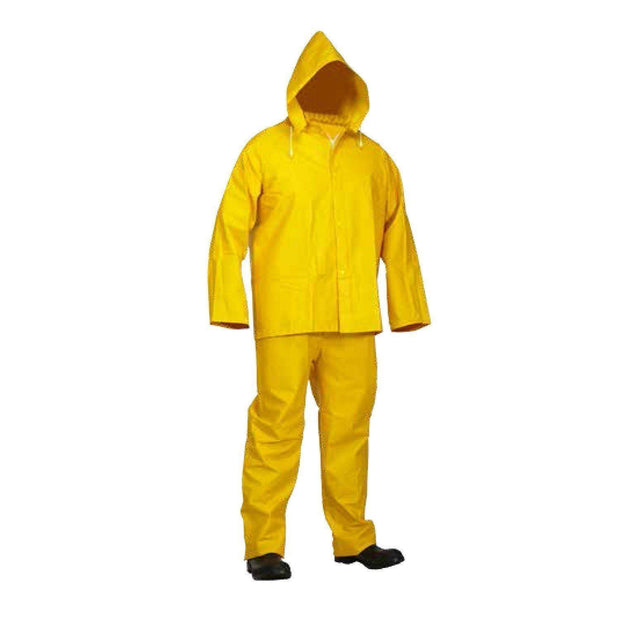 3-Piece Yellow PVC Rainsuit with Fire Resistant Coating - Hi Vis Safety