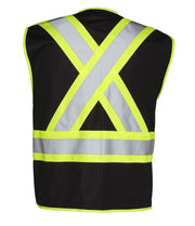 5-Point Tear-Away Hi Vis Traffic Safety Vest, Tricot Polyester, 3 Sizes - Hi Vis Safety